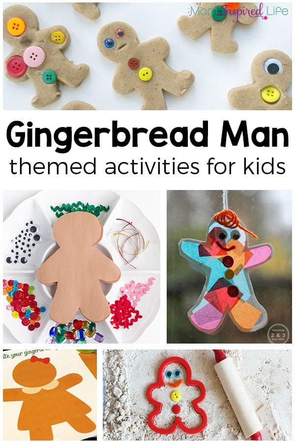 Gingerbread Man activities for kids. A list of fun gingerbread theme activities for preschool and kindergarten!