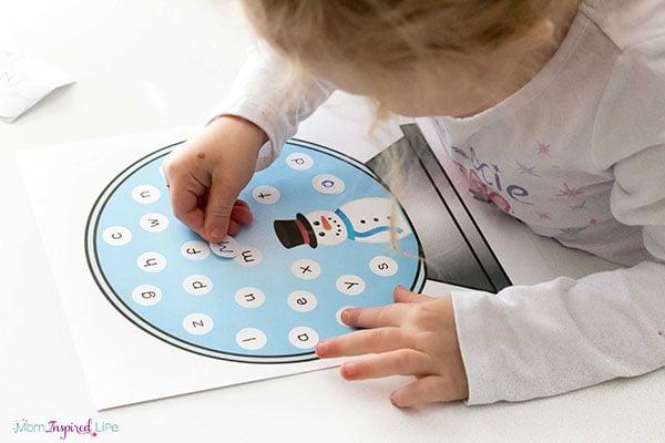 Snowman letter matching activity.