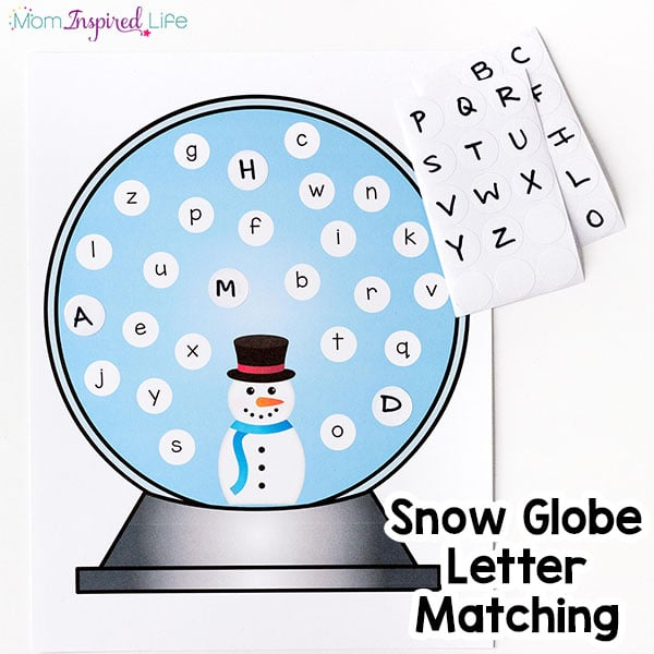 Snowman winter alphabet activity for preschool. A fun letter matching activity!
