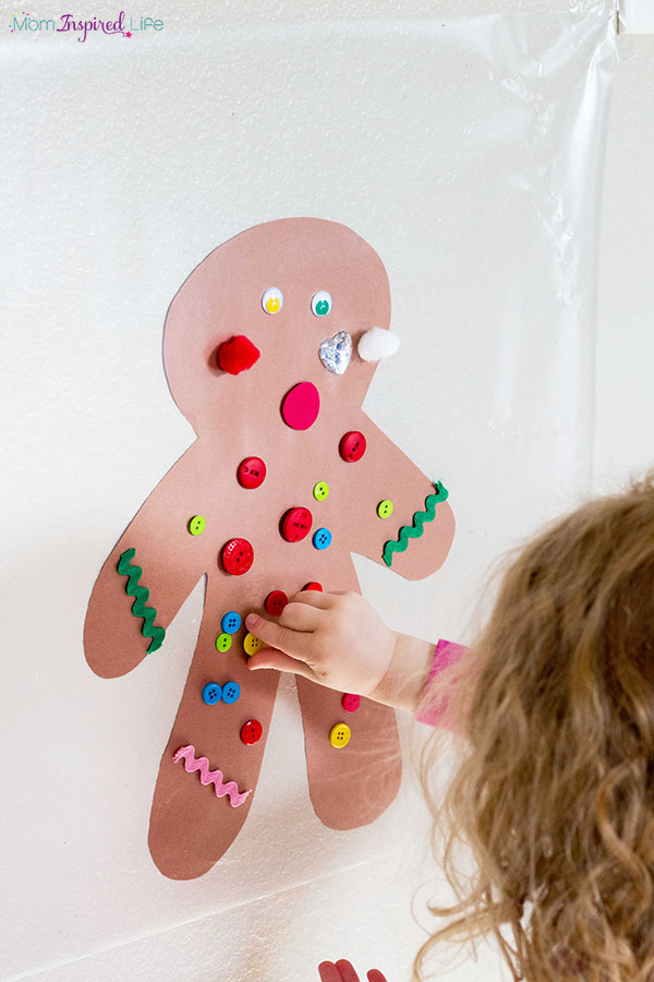 Gingerbread man sticky wall collage.