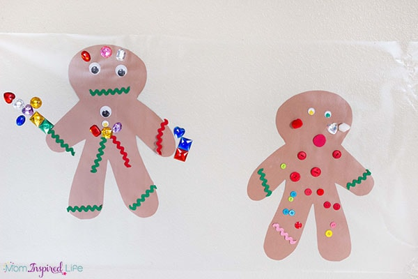 Sticky wall gingerbread activity.