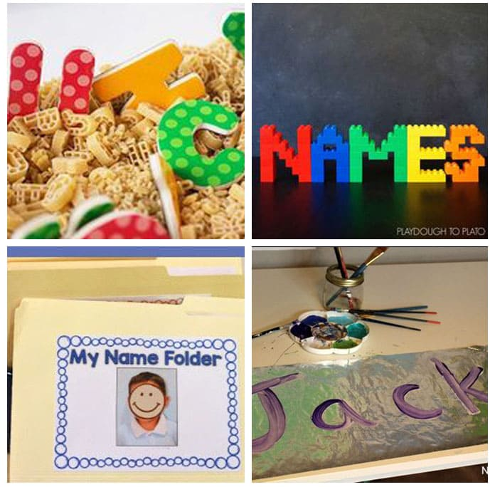Hands-on name activities for preschool.