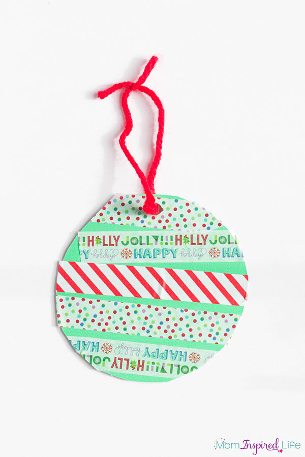 Washi tape Christmas ornaments for kids.