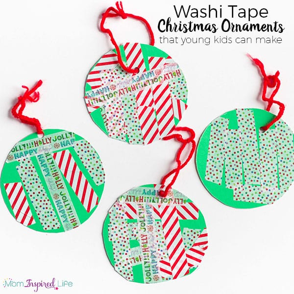 Super easy Christmas ornament that kids can make and send in your Christmas cards!