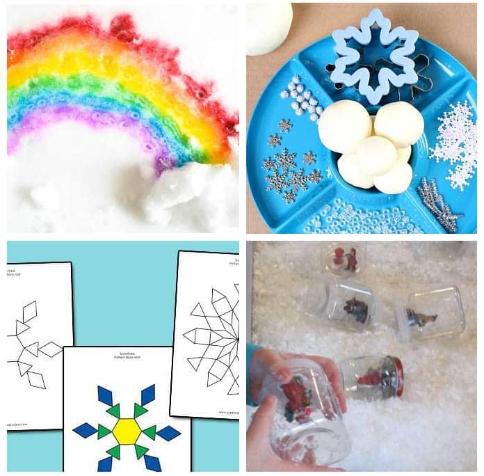 Winter theme for preschool. Snowmen activities, snow activities and more.