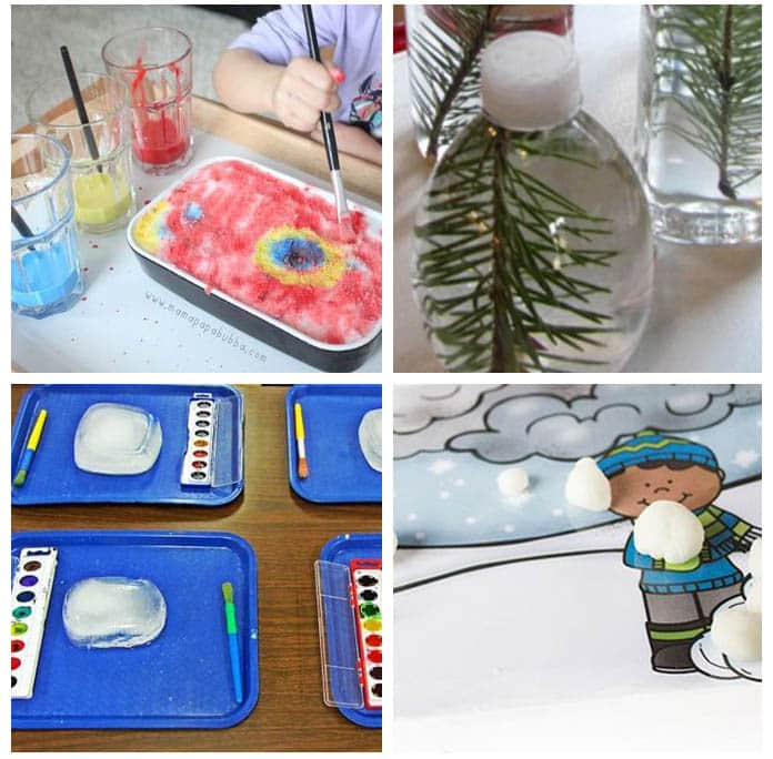 Winter art and sensory activities for kids.