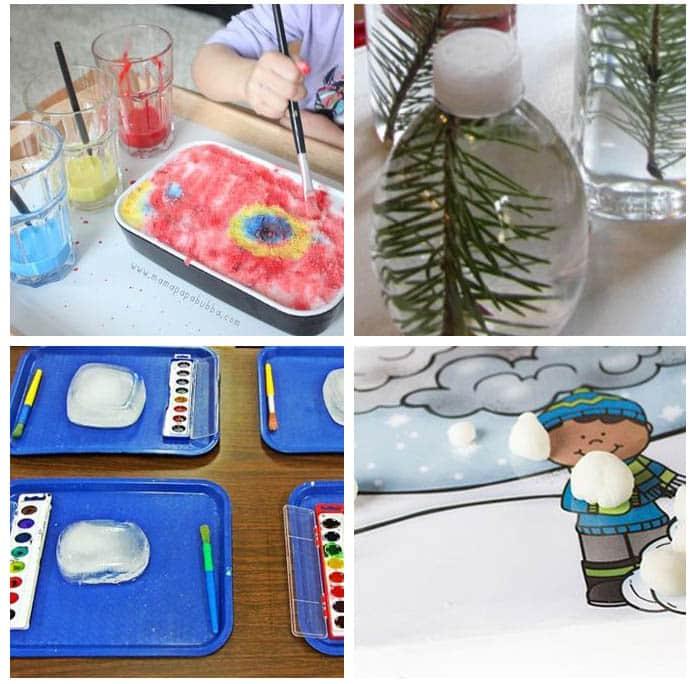 Winter art and sensory activities for kids.