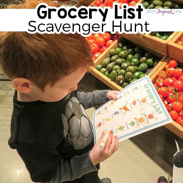 Grocery list scavenger hunt for preschoolers.