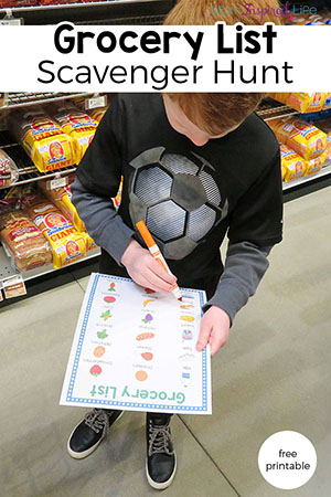Grocery List Scavenger Hunt for Kids