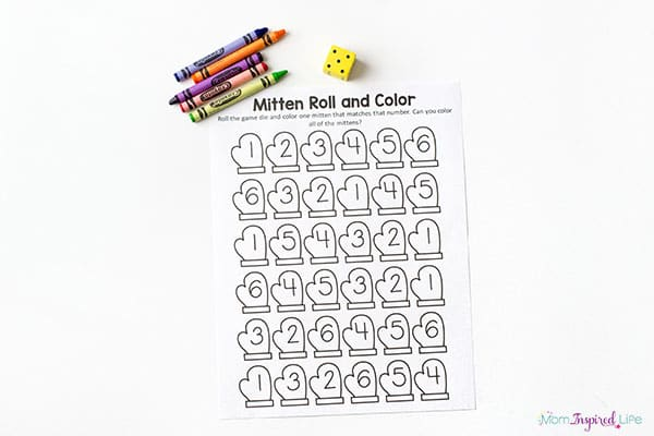 Mitten math activity for preschool.