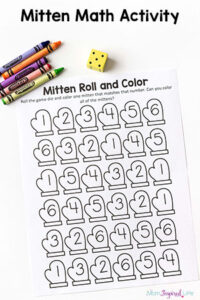 Mitten Math Activity for Winter – Roll and Color Game