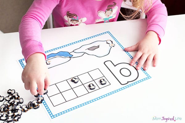 Penguin counting math activity for preschool.