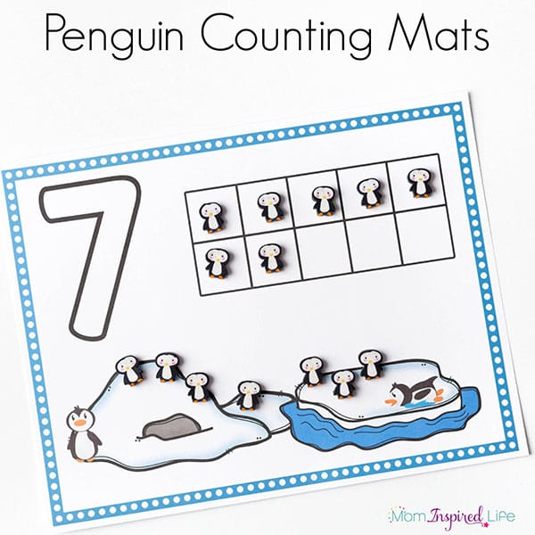 Penguin counting math activity for a winter theme.