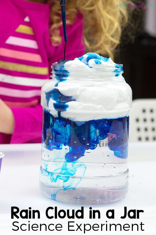 This rain cloud in a jar science experiment for young kids is a great way to explore weather.
