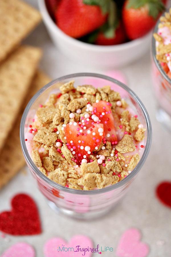 Strawberry yogurt parfait for Valentine's Day.