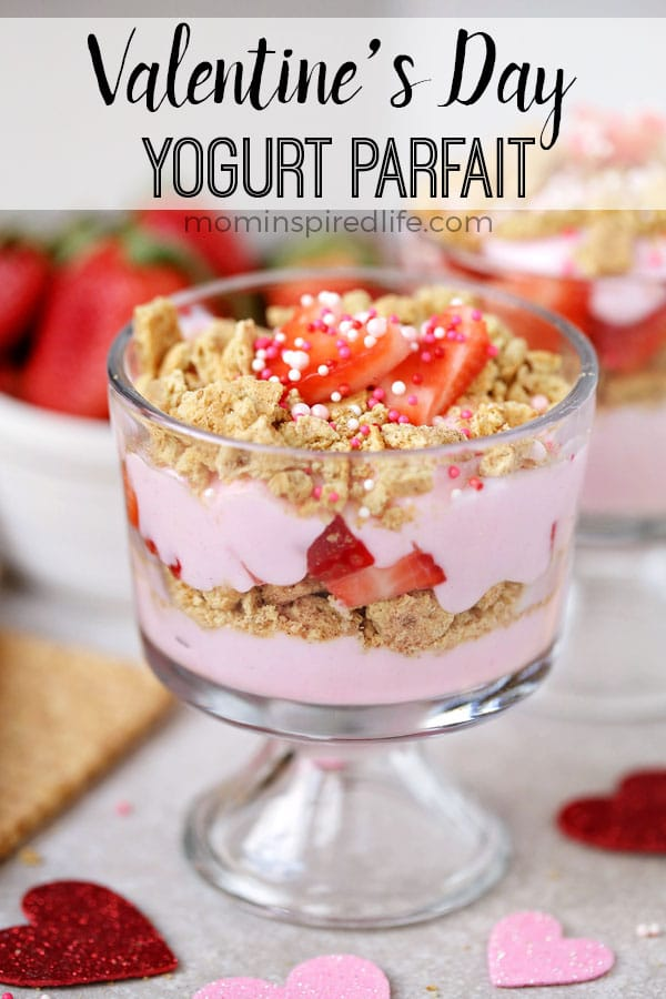Strawberry parfait Valentine's Day snack for kids. A healthy treat for your kids!