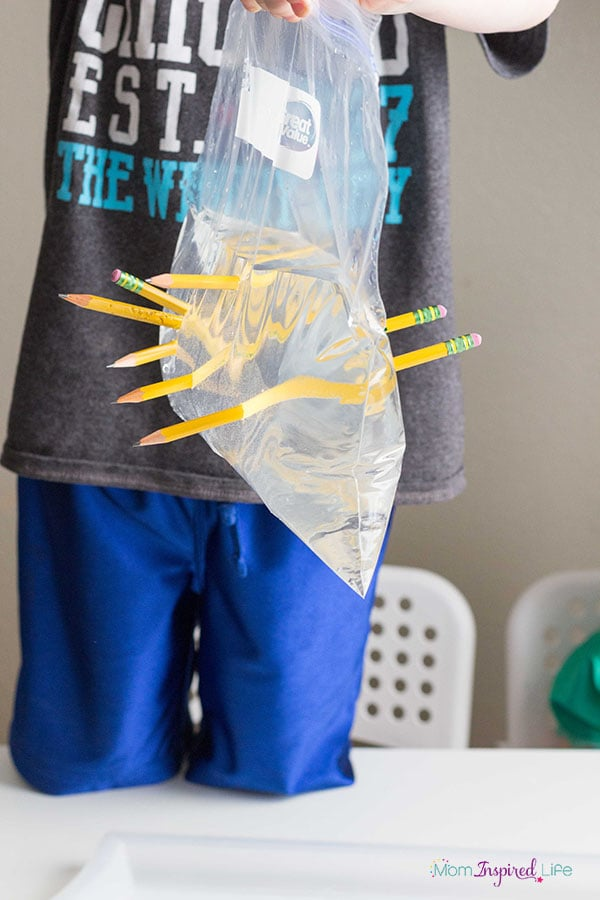 Water science experiment for kids. This leak proof bag is so neat!