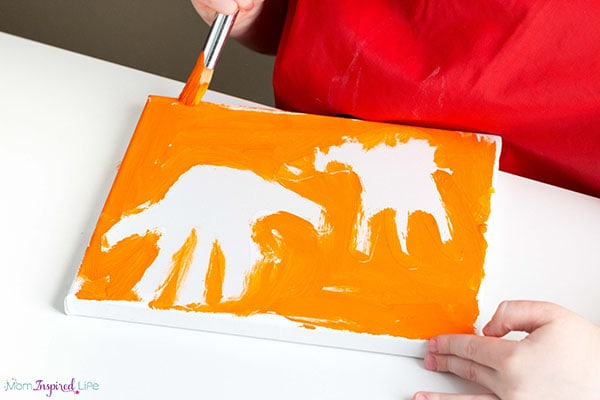Handprint keepsake painting for kids to make for their parents.
