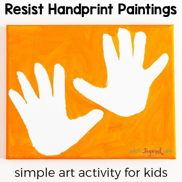 Resist handprint paintings art activity for kids.