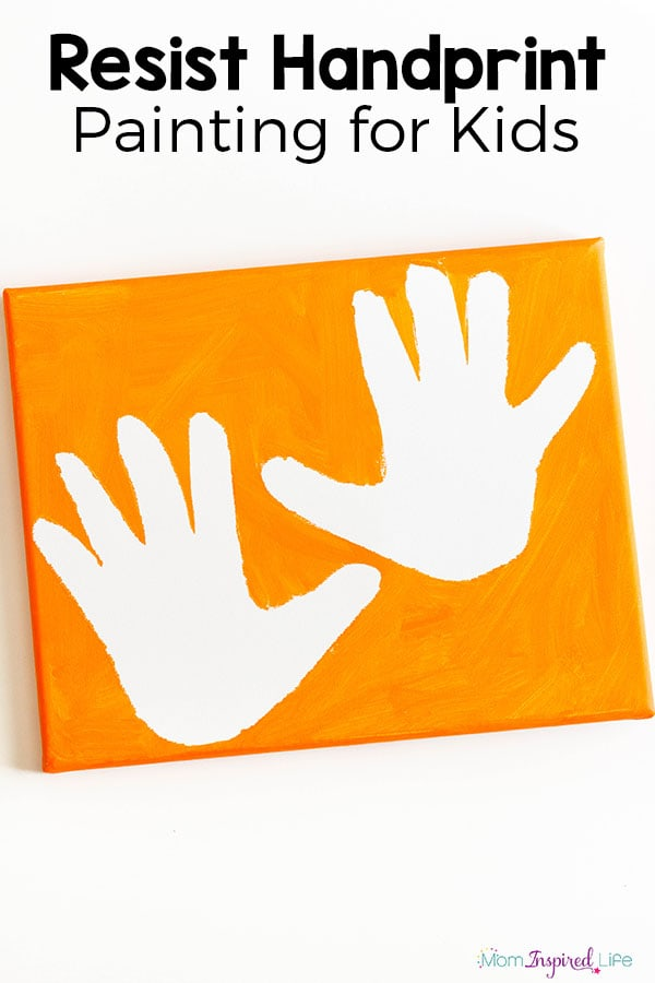 Resist handprint paintings. A fun art activity for preschoolers or young kids.