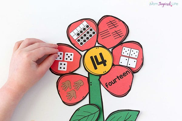 A spring math activity with flowers.