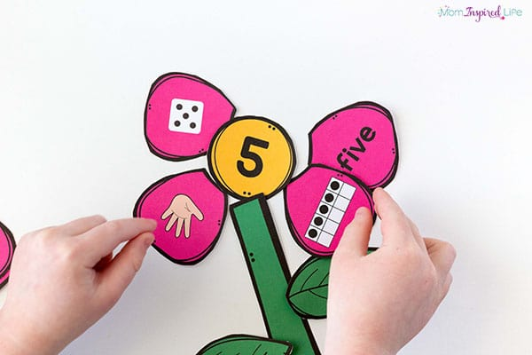 A flower math activity for preschool.