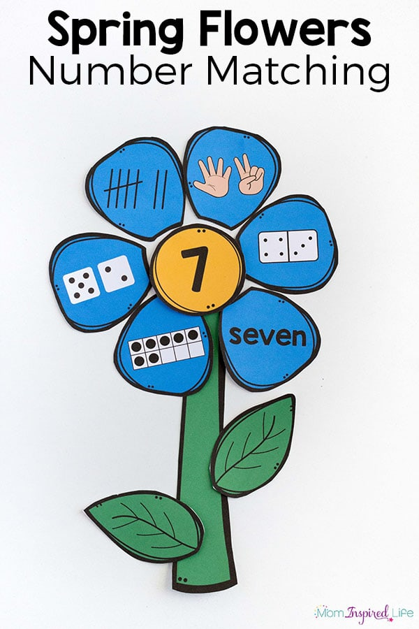 Flower number matching activity that's great for preschool or kindergarten. A fun way to learn numbers this spring!