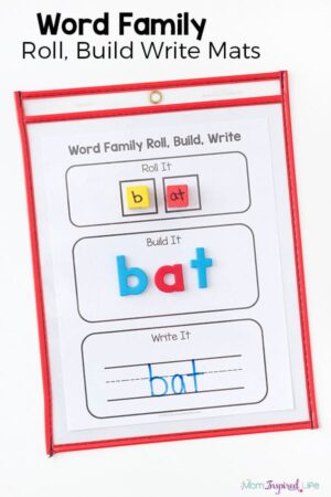 Teaching word families is fun and easy with these CVC word family roll, build and write mats.
