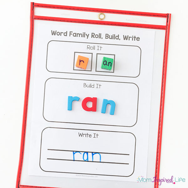 CVC word family activity for kindergarten.
