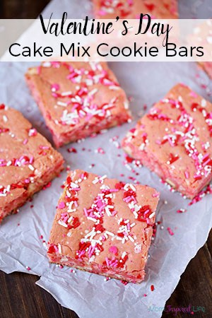 Valentine's Day Dessert: Strawberry Cake Mix Cookie Bars