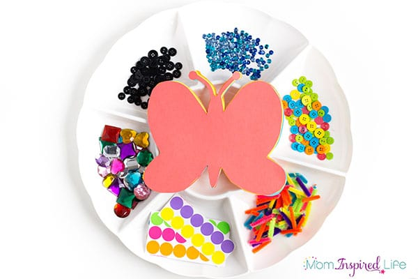 Butterfly collage art activity for young kids.