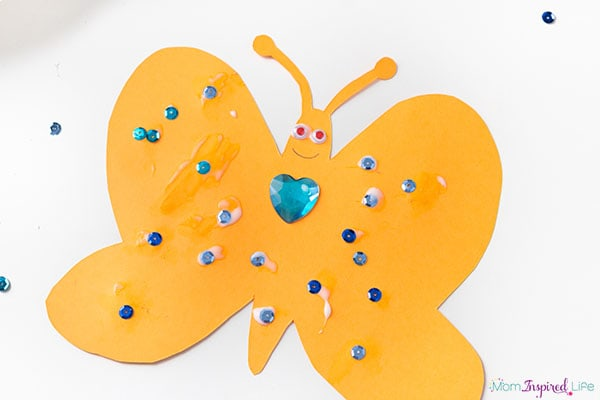 Butterfly collage art activity for kids.