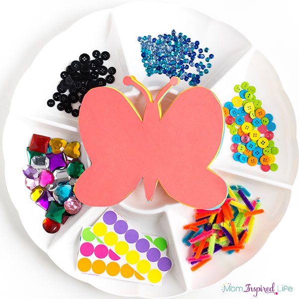 Butterfly collage art for preschool, kindergarten and early elementary.