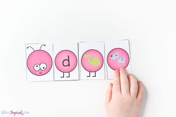 Caterpillar letter sounds matching alphabet activity for spring.