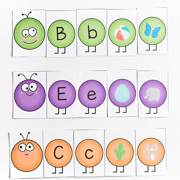 Caterpillar alphabet activity for spring theme.
