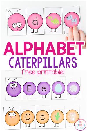 Caterpillar Letter Sounds Matching Activity with Printable