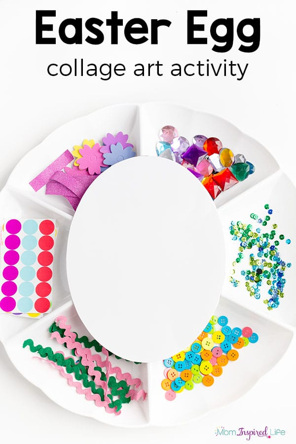 Your kids will love this Easter egg collage art activity! It's a fun spring craft that allows children to be creative while developing fine motor skills.