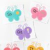 Butterfly letters and sounds matching puzzles for spring theme.
