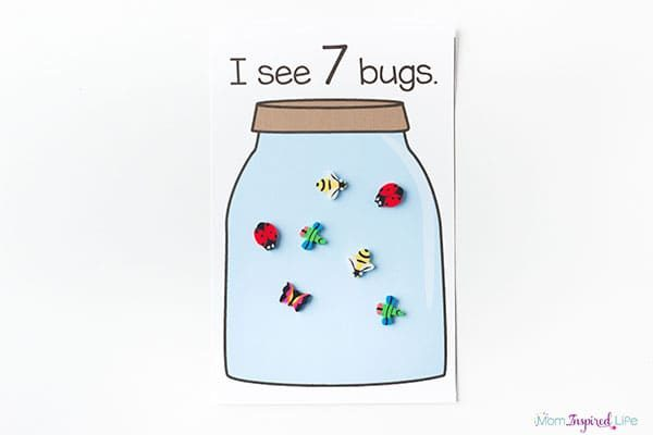 Bug jar counting mats for preschool and kindergarten.