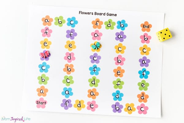 Flowers board game for spring.