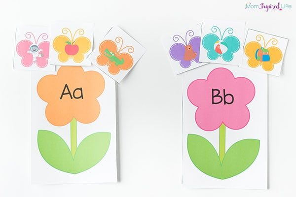 Flowers and butterflies alphabet and letter sounds activity for spring.