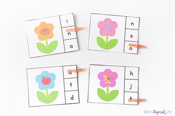 Spring flowers beginning sounds clip cards.