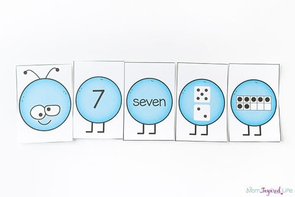 Number caterpillars preschool spring theme printables.