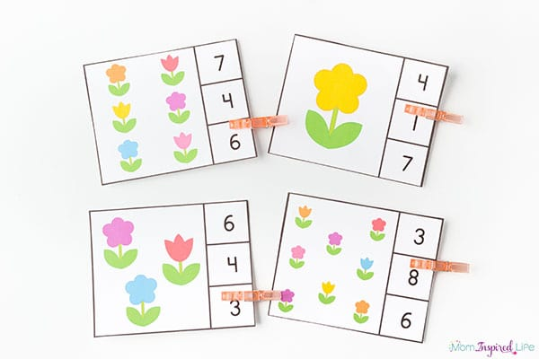 Flowers numbers and counting clip cards.