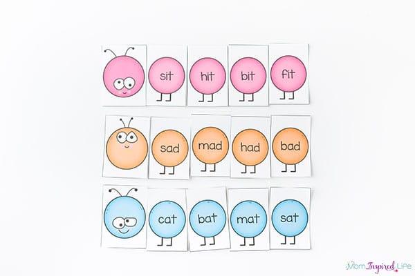Rhyming word family caterpillars activity for kindergarten.