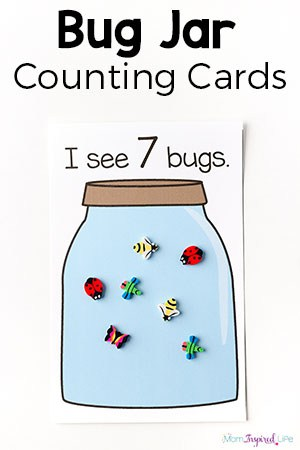 This bug jar counting game and the printable counting cards make learning to count fun and engaging for toddlers and preschoolers. Your kids will love it!