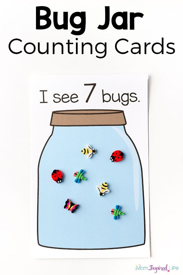 These bug jar counting game and the printable counting cards make learning to count fun and engaging for toddlers and preschoolers. Your kids will love it!