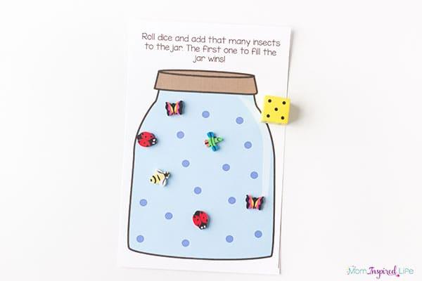 Bug themed math activity for preschool and kindergarten.