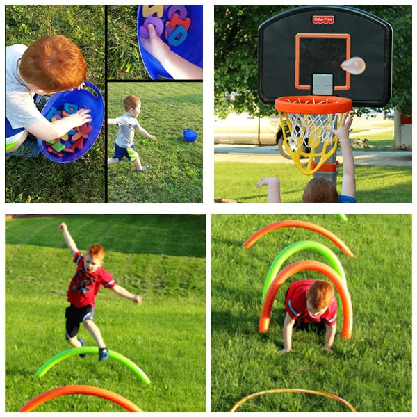 Outdoor party games. Obstacle courses, relay races, and water balloon fun!