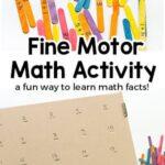 Fine Motor Math Facts Activity in a Cardboard Box